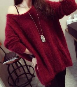 2015 Spring Loose Mohair Pullover Round Neck Large Size Cardigan Female pictures & photos