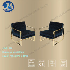 Navy Blue Stripes Hight Elasticity Spongy Cushion Gold Chair pictures & photos