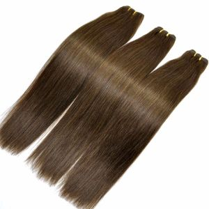 Fashion Hair Brown Color Silk Straight Human Hair Weft pictures & photos