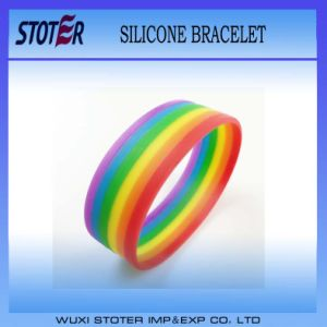 Cheap Rainbow Gay Pride Bracelet Silicone Wristbands pictures & photos