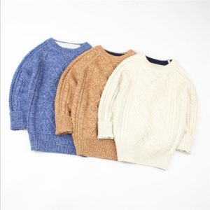 T1223 Boy Pullover Pure Color Long Sleeve Knitted Cotton Sweater pictures & photos