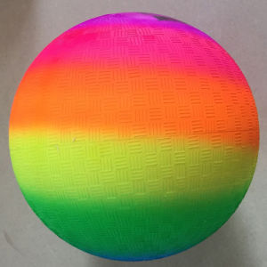 9 Inch Rainbow Inflatable PVC Playground Ball pictures & photos