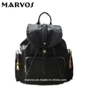 Newly Ladies′ Nylon and Leather Backpack BS16421