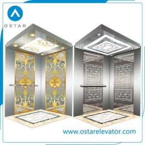 Elevator Parts, Golden Etching Passenger Elevator Cabin, Lift Cabin Design (OS41) pictures & photos