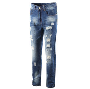Manufacturer Fashion Hot Sale Cotton Straight Slim Ripped Men′s Jeans Pants pictures & photos