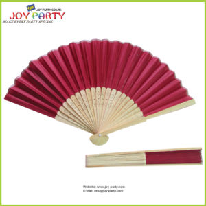 Claret Fabric Hand Held Fan with Bamboo Ribs