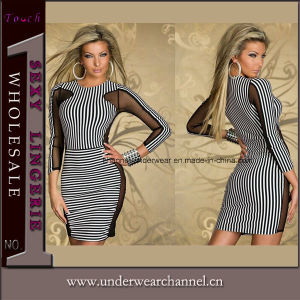 Ladies Long Sleeve Women Stripe Bodycon Cocktail Dress (N166) pictures & photos