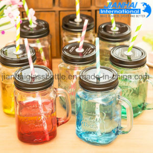 Drinking Bottle Clear Glass Mason Jar with Handle pictures & photos