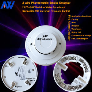 24V 4 Wires LED Smoke Detector pictures & photos