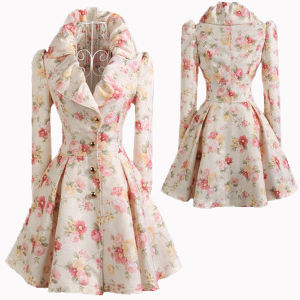 Lady′s Swing Dress Floral Coat Jacket in Winter (HGS1745)