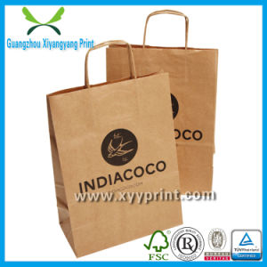 Brand Brown Kraft Paper Bag Print with Paper Handle pictures & photos