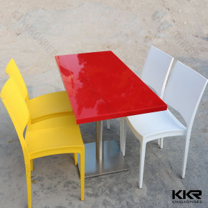 Red Fast Food Table Acrylic Solid Surface Restaurant Tables pictures & photos