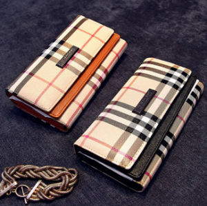New Arrival Tartan Pattern Women Clutch Wallet