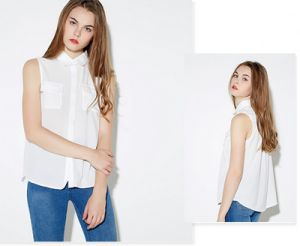Fashion Clothes Casual Chiffon Sleeveless Women Blouse Leisurely Shirt pictures & photos