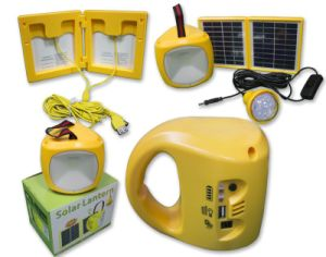Solar Panel Camping Lantern with Bulbs and Cell Phone Charger pictures & photos