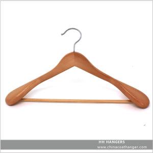Wholesale Classic Big Shoulder Natural Wooden Clothes Hanger Hangers for Jeans pictures & photos