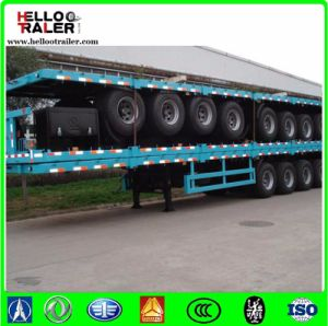 3 Axles Flatbed Tractor Trailer with Twist Locks pictures & photos
