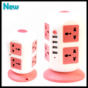 8 Outlets 4 USB Port Vertical Power Socket Office Home Switch Socket pictures & photos