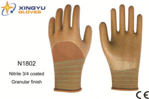 Polyester Shell Nitrile Coated Saftey Work Gloves (N1802) pictures & photos