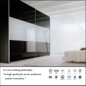 White and Black Sliding Door Wardrobe (ZH0058) pictures & photos