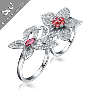 New 925 Silver with Red Diamand Gemstone Lady Ring