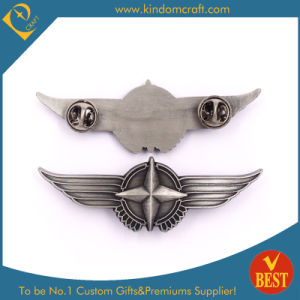 China Customized Zinc Alloy Wings Shape Nickel Plating Pin Badge at Factory Price pictures & photos