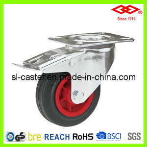 Black Rubber Swivel Plate with Brake Caster (P102-31D080X25S) pictures & photos