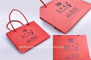 Red Fancy Paper Bag Logo Hot Stamp with Paper Rope Handle pictures & photos