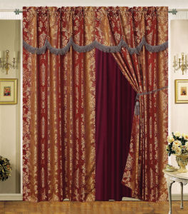 Luxury Jacquard Window Curtain with Lace Edge 02