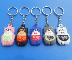 PVC Key Ring with Cartoon Design Cut 3D Cat PVC Key Chain pictures & photos