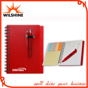 Customized PP Cover Spiral Note Pad with Pen for Promotion (PPN223) pictures & photos