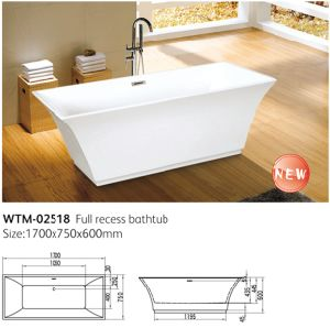 China cupc square tub narrow slim freestanding bathtub for Narrow deep soaking tub