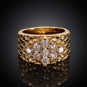High Quality Gold Plated Fashion Womens Zircon Rings Jewelry Cr004A