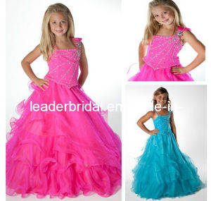 Stage Performance Gown Beads Wedding Ball Gown Tulle Flower Girl Dress F131224 pictures & photos