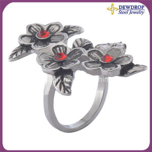 Beauty Girl′s Accessories Silver Flower Love Ring