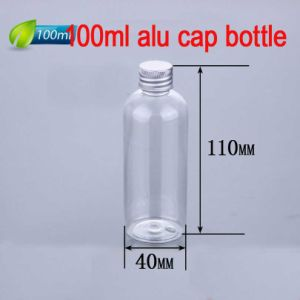 100ml Aluminium Cap Plastic Round Bottle, Clear Bottle for Cosmetic Packing pictures & photos