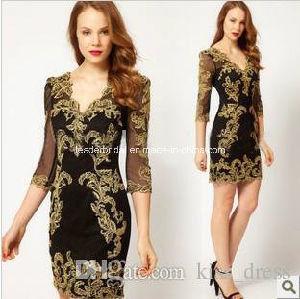 Short Mother′s Gowns Sheath Applique Black New Evening Dresses Z7047 pictures & photos