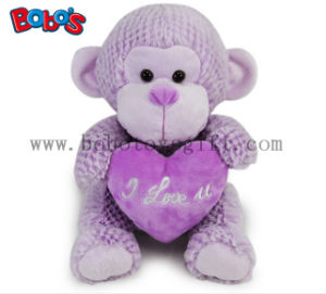 China Factory Made Super Cute Plush Purple Monkey Toy with Purple Heart Pillow pictures & photos