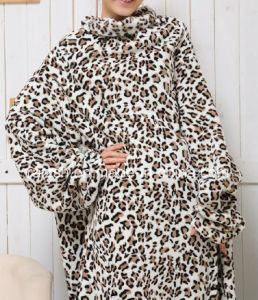 Contemporary Printed Polar Fleece Throw Snuggie with Sleeves TV Blanket