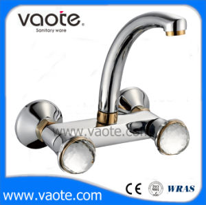 Crystal Handle Retro Sink Wall Faucet (VT60702) pictures & photos