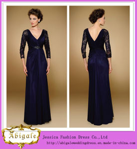 New Elegant Vintage Chiffon Half Sleeve V-Neck Appliques Beaded Sequins Long Fat Mother of The Bride Dresses Yj0110 pictures & photos