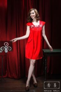 Women Red Sexy Silk Sleepwear/ Pajamas/Pyjamas (QX-5S63)