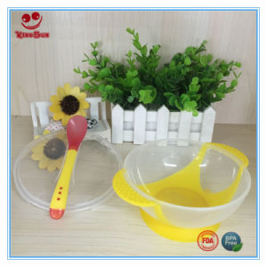 Suction Bowl with Color Changing Spoon for Feeding Baby pictures & photos