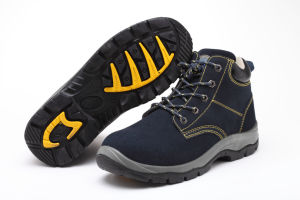 Embossed Leather PU Sole Safety Work Footwear / Shoes