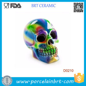 Glaze Large Moulded Skull Ceramic Money Box Bank Halloween Gift pictures & photos