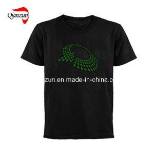 Black Cotton Round Neck Men′s T-Shirt (ZJ091) pictures & photos