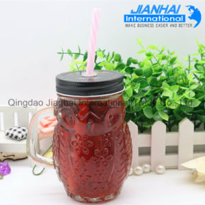 High Quality Colorful Glass Mason Jar with Handles Wholesale pictures & photos