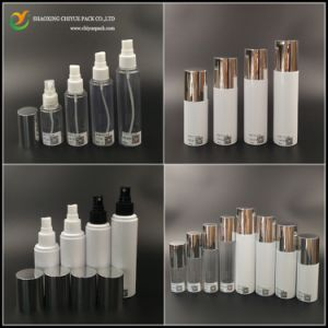 High Quality Clear White Cylinder Pet Plastic Sprayer Bottle with Silvery Lids