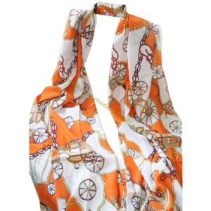 Lady Fashion Wheel Print Voile Long Scarf pictures & photos