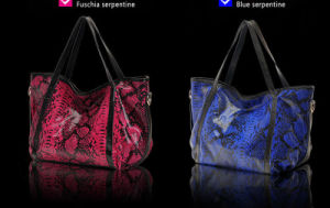 Latest Genuine Leather European Brand Snake Print Cowhide Single Shoulder Women′s Bag pictures & photos